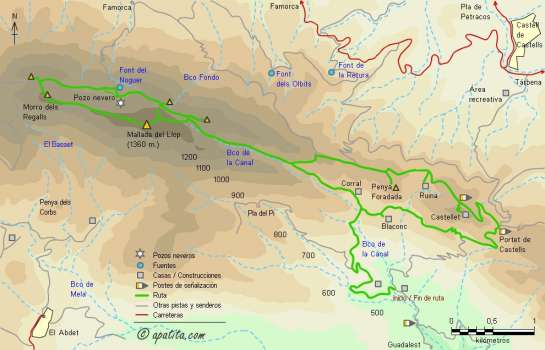 Mapa - Subida a la Mallada del Llop  por el barranc de la Canal