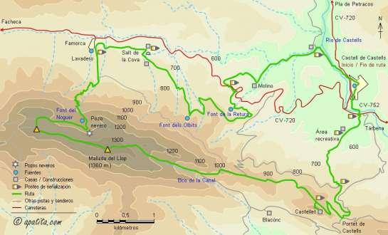 Mapa - Subida a la Mallada del Llop desde Castell de Castells y bajada por Famorca