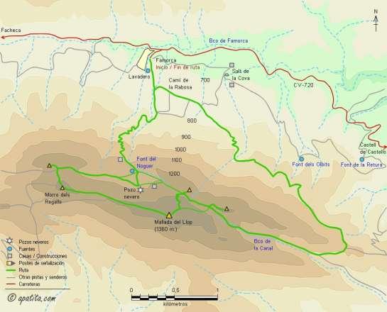 Mapa - Subida a la Mallada del Llop desde Famorca por el barranc de la Cana