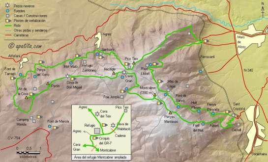 Mapa - Ruta de largo recorrido enlazando varios de los senderos de la Sierra de Mariola