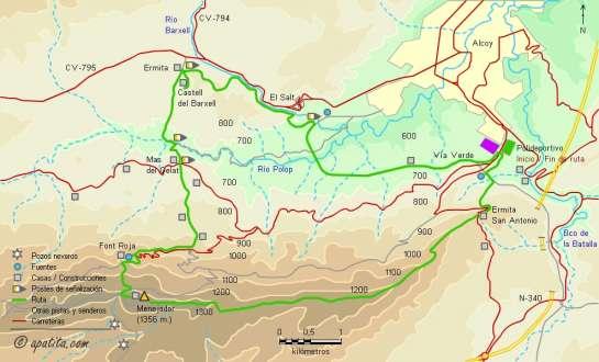 Mapa - Recorrido circular desde Alcoy pasando por el Menejador y el castell del Barxell