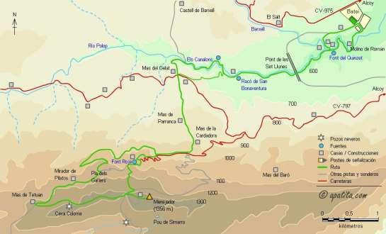 Mapa - Subida al Menejador desde Alcoy por Canalons y los PR-CV 160 y 26