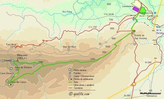 Mapa - Subida al Menejador desde el Polideportivo de Alcoy por la Ermita de San Antonio