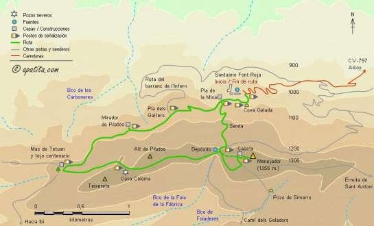Mapa - Subida al Menejador desde el santuario de la Font Roja