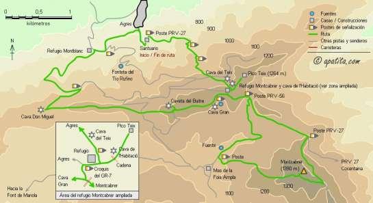 Mapa - Subida al Montcabrer desde Agres y ruta de las cavas
