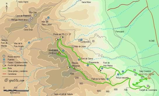 Mapa - Subida al Montcabrer desde Sant Cristòfol por el Alberri y Penyes Monteses