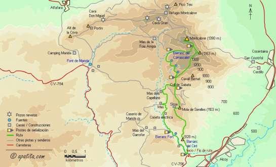 Mapa - Subida al Montcabrer desde Alcoy por el barranc del Cint y regreso por la Mola de Serelles