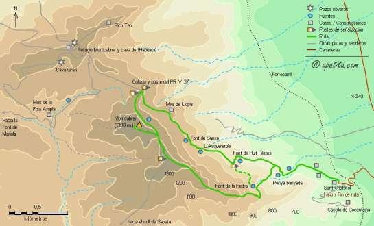 Mapa - Subida al Montcabrer desde Sant Cristòfol por Huit Piletes y bajada por la font de l'Heura