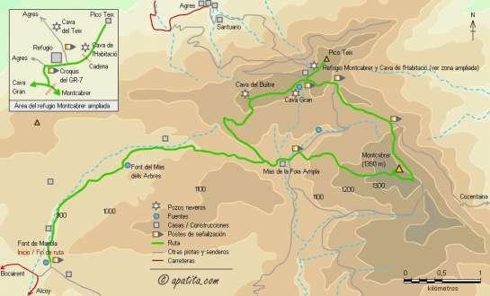 Mapa - Subida al Montcabrer desde la font de Mariola pasando por la Cava Gran