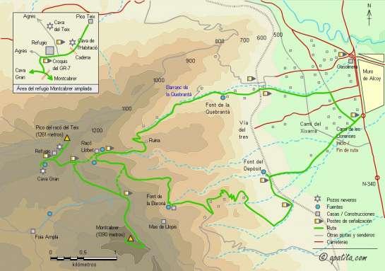 Mapa - Recorrido del PR-CV-56 y enlaces para subir al Montcabrer y al Pico Teix