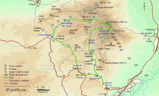 Mapa - Subida al Montcabrer y recorrido circular por Mariola del PR-CV-57