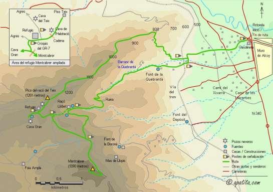 Mapa - Subida al Montcabrer y pico Teix desde Muro de Alcoy