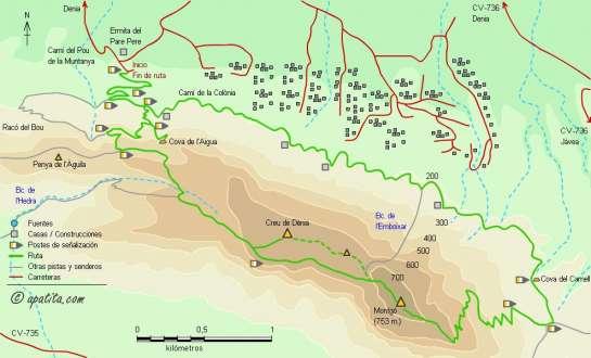 Mapa - Subida al Montgó desde Denia por la Cova de l'Aigua