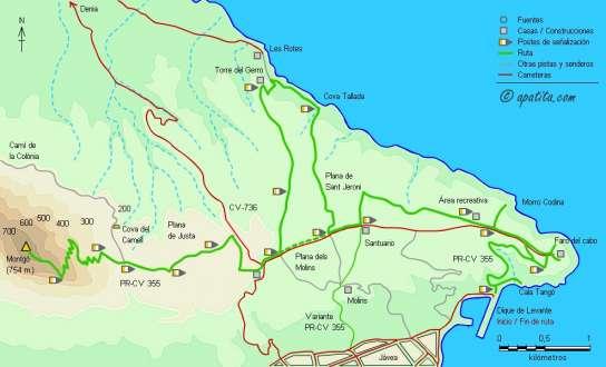 Mapa - Subida al Montgó desde Jávea pasando por el cabo de San Antonio