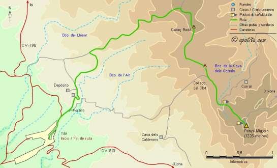 Mapa - Subida a la Penya Migjorn desde Tibi