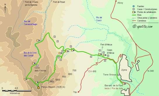 Mapa - Subida a la Penya Migjorn desde Jijona por el PR-CV 212