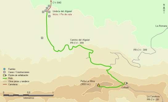 Mapa - Subida a la Penya de la Mina desde la ermita de l'Algaiat por un tramo del PR-CV 399