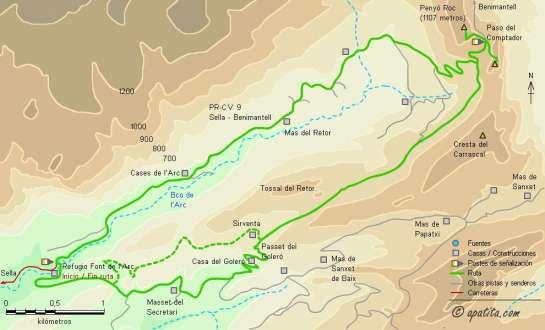 Mapa - Subida al Penyó Roc por el barranc de l'Arc y regreso por el Goleró