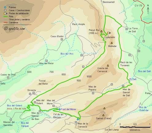 Mapa - Recorrido circular desde el Goleró pasando por el Salt y Penyó Roc