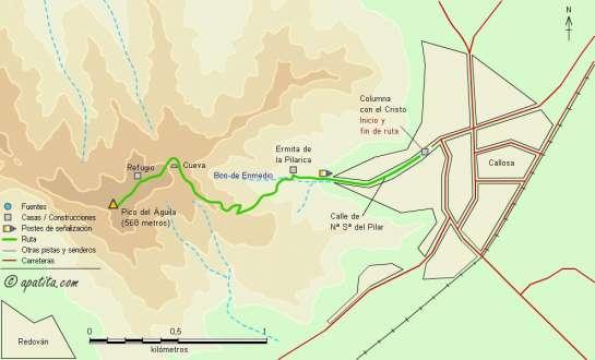 Mapa - Subida al Pico del Águila desde Callosa por el barranco de Enmedio