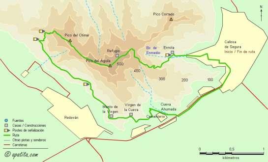 Mapa - Recorrido circular por la sierra de callosa siguiendo una variante del PR-CV 54
