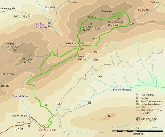 Mapa - Subida al Pla de la Casa desde el Rincón de las Mermeladas por el Barranc del Teular