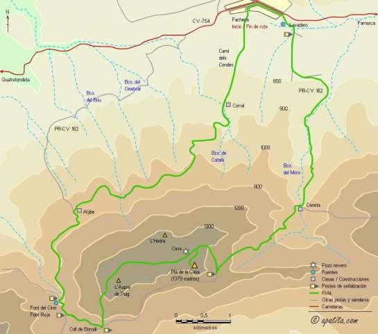 Mapa - Ruta circular por el Pla de la Casa desde Facheca