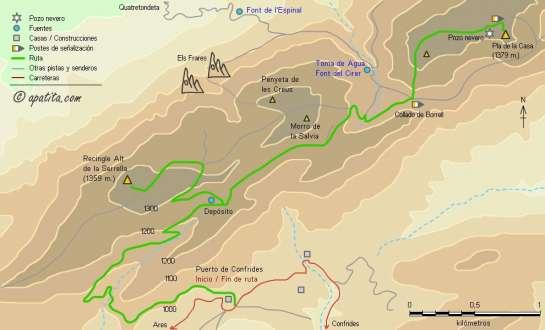 Mapa - Subida por la pista del puerto de Confrides al Pla de la Casa y al Recingle Alt