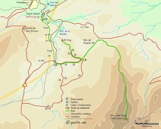 Mapa - Subida a la Serra dels Plans desde el restaurante Nueva Saltera en Alcoy