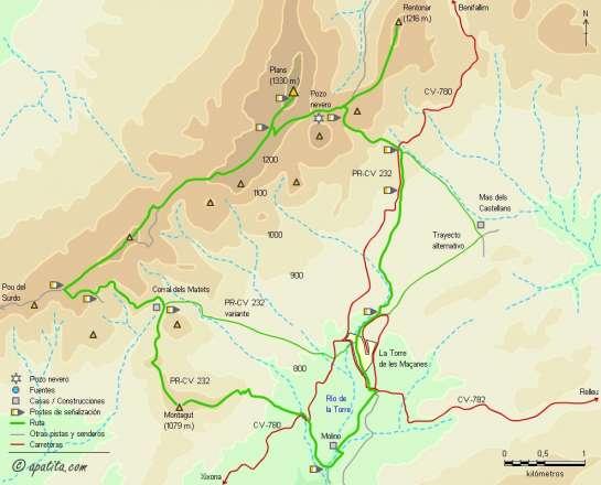 Mapa - Recorrido del PR-CV 232 por la Serra dels Plans y el Montagut