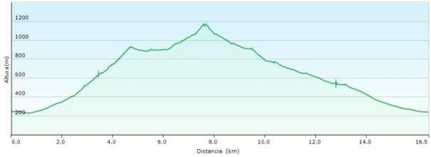 Perfil - Subida al Ponoig desde Polop por el barranc de la Canal y bajada por Guad-dar