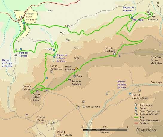 Mapa - Subida al Alt de la Cova y Portín por el barranco de la Penya del Xorro