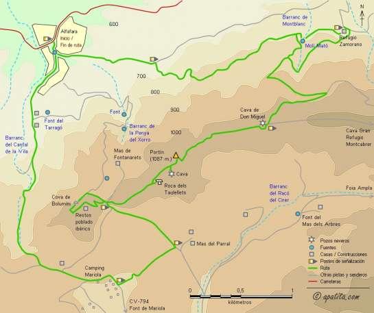 Mapa - Subida al Portín pasando por la Cova de Bolumini y la Cava de Don Miguel
