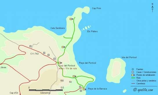 Mapa - Recorrido por el SL-CV 97 a Cala Barraca y SL-CV 98 al Cap Prim