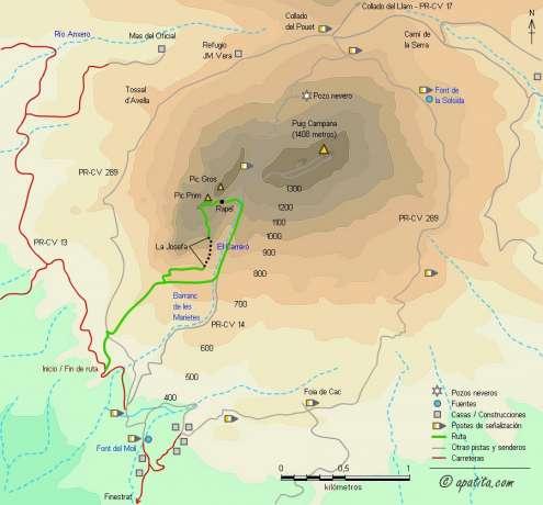 Mapa - Vía de escalada clásica en el Puig Campana y subida al Pic Prim