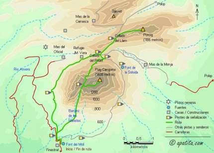 Mapa - Subida al Puig Campana y Ponoig desde la font del Molí (Finestrat)