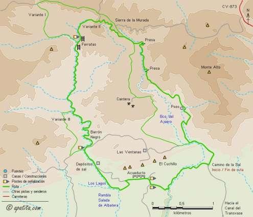 Mapa - Recorrido circular por la Rambla Salada de Albatera y el barranco del Ajuero.