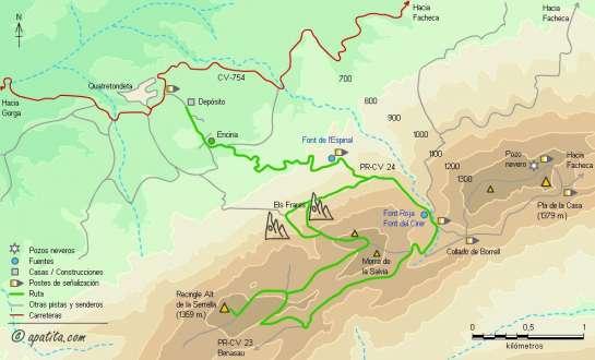 Mapa - Subida al Recingle Alt desde Quatretondeta por Els Frares