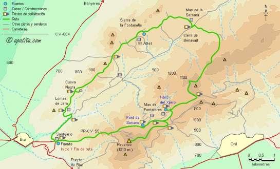 Mapa - Recorrido del PR-CV 55 en la sierra del Reconco desde Biar