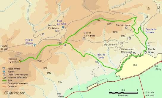 Mapa - Subida al Reconco desde Onil