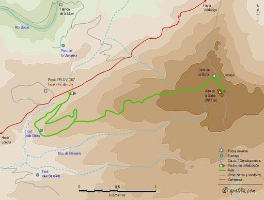 Mapa - Subida al alto de la Safor por el sendero de la font dels Olbits