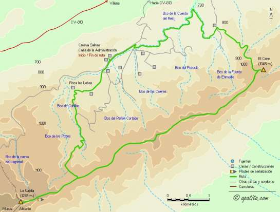 Mapa - Recorrido circular por la sierra de Salinas pasando por la Capilla y el Caire