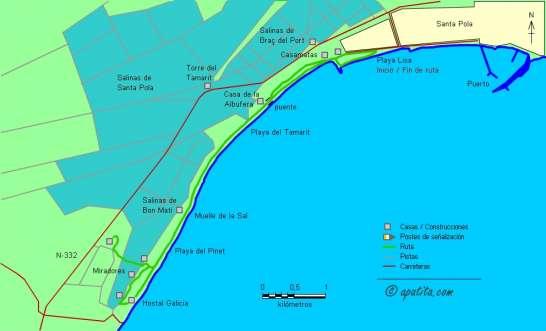 Mapa - Recorrido costero entre Santa Pola y las dunas del Pinet