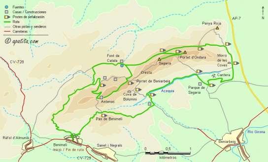 Mapa - Recorrido circular combinando el PR-CV 415 y el SL-CV 109
