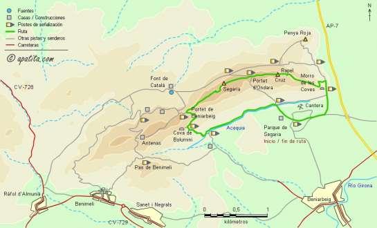 Mapa - Subida a la cima de Segaria por la cresta este