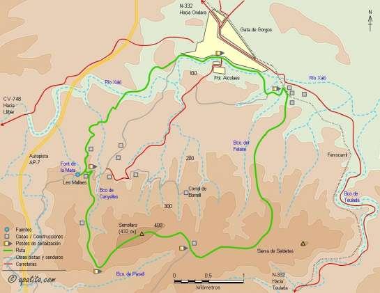 Mapa - Recorrido circular del PR-CV 412 por la sierra de Seldetes