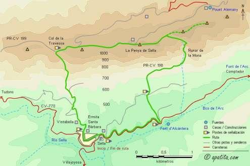Mapa - Subida a la Penya de Sella por el PR-CV 198