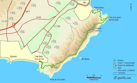 Mapa - Recorrido por Serra Gelada de Benidorm a la playa del Albir