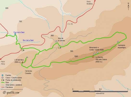 Mapa - Subida al Alt dels Dubots y Ull del Moro desde la Font de la Salut