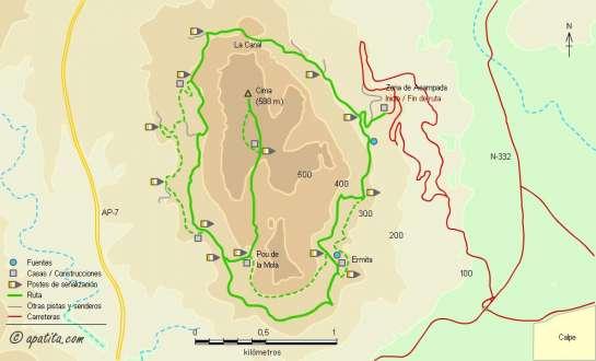 Mapa - Recorrido circular por Oltà y subida a la cima